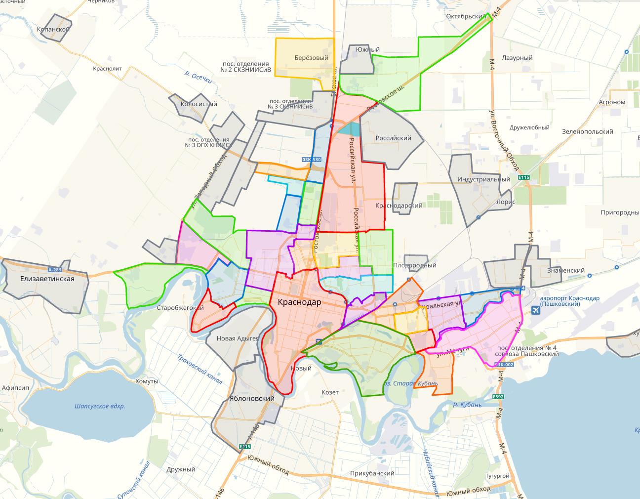 Карта районов